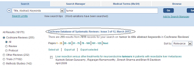 Example: Cochrane Database of Systematic Reviews: Issue 3 of 12, March 2013