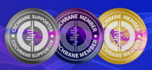 silver, purple, and gold badges that say Cochrane Supporter, Cochrane Member, and Cochrane Member, respectively