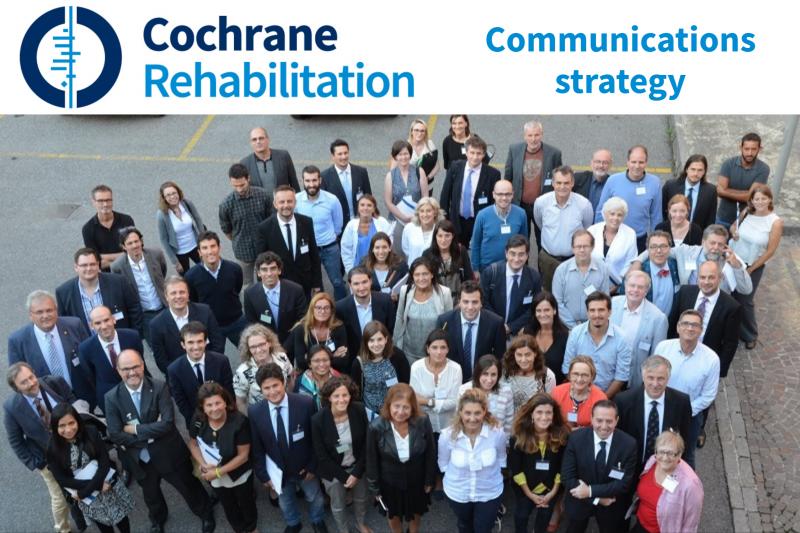 A large group of Cochrane Rehab members smile up at a drone camera