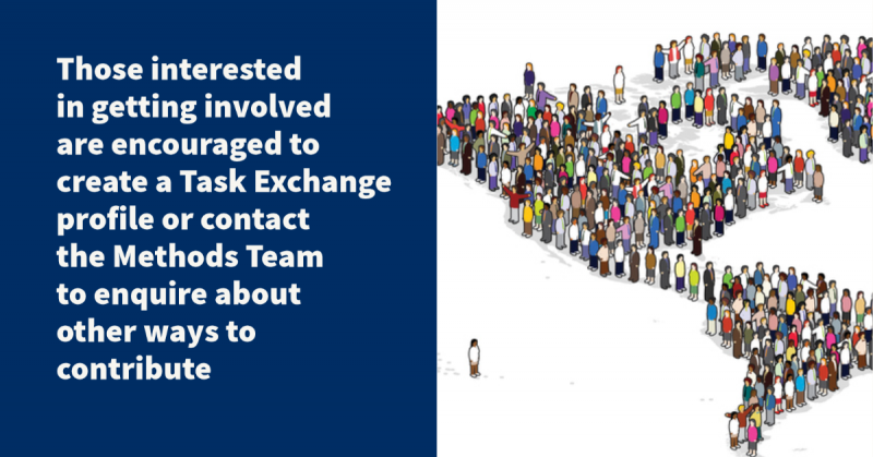 Those interested in getting involved are encouraged to create a Task Exchange profile or contact the Methods Team to enquire about other ways to contribute
