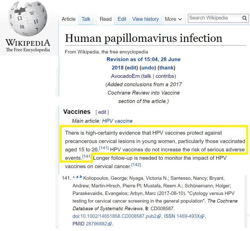 """An example of how a edit-a-thon participant used the 2017 HPV systematic review to improve the evidence base of the Human papillomavirus infection Wikipedia article during the Cochrane-UK Wikipedia """"edit-a-thon"""" on June 28, 2018."""